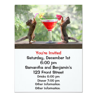 Two Squirrels Drinking a Cocktail Custom Invitations