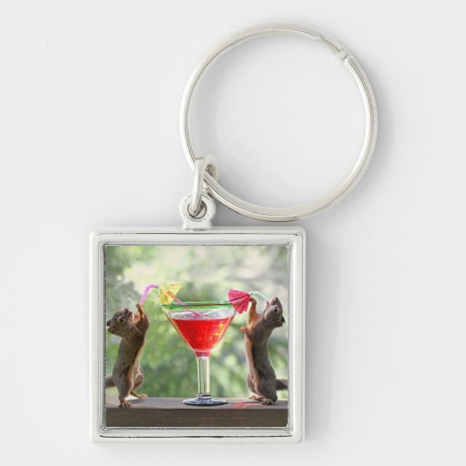 Two Squirrels Drinking a Cocktail Key Chain