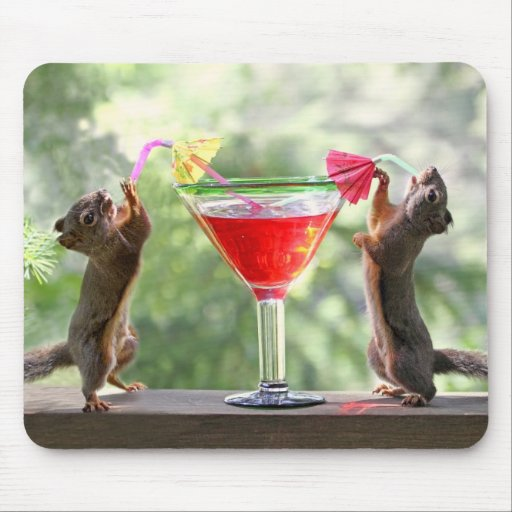 Two Squirrels Drinking a Cocktail Mousepad