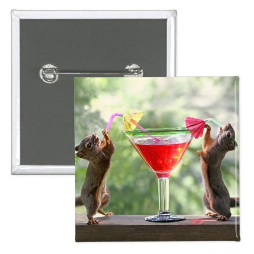 Two Squirrels Drinking a Cocktail Pin