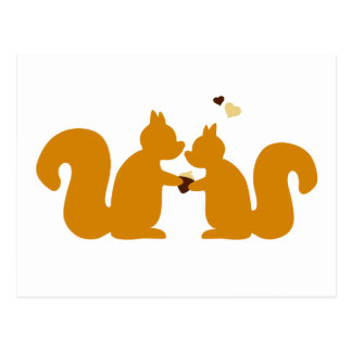 Two squirrels in love postcard