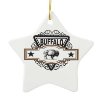 two star buffalo ceramic ornament