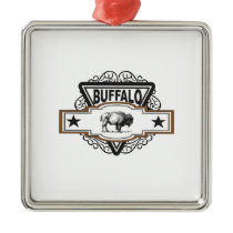 two star buffalo metal ornament