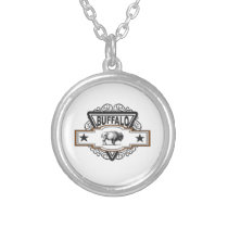 two star buffalo silver plated necklace