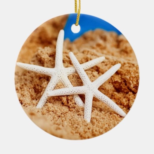 Two Starfish at the Beach Ceramic Ornament