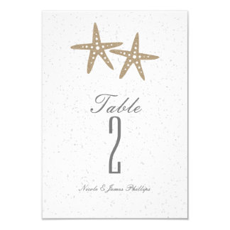 Two Starfish Beach Wedding Bridal Table Number