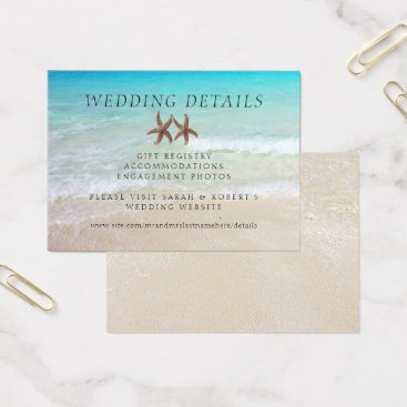 Beach Themed Two Starfish Beach Wedding Details 100 Cards