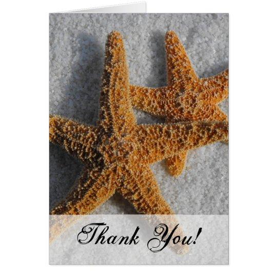 Two Starfish in the Sand, Beach Wedding Card