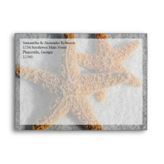 Two Starfish in the Sand, Beach Wedding Envelope