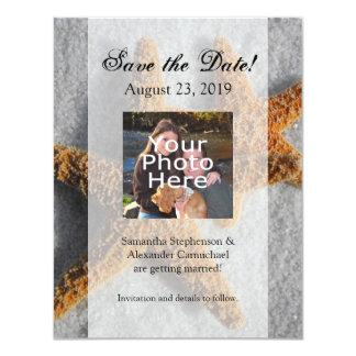 "Two Starfish in the Sand, Beach Wedding 4.25"" X 5.5"" Invitation Card"