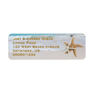 Two Starfish Ocean Beach Return Address Labels