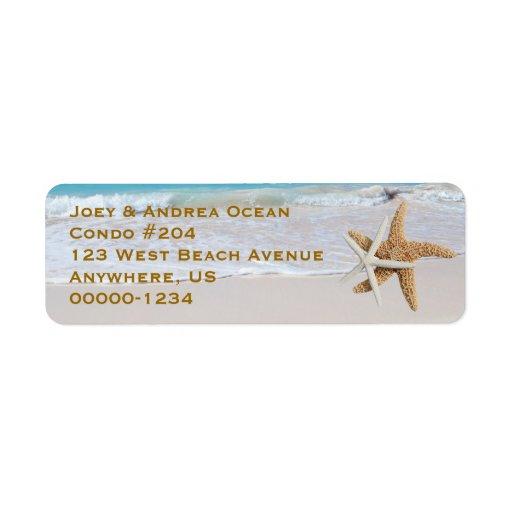 Two Starfish Ocean Beach Return Address Labels
