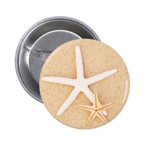 Two Starfish on a Beach 2 Inch Round Button