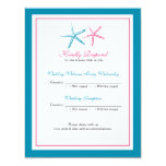 Two Starfish Peacock and Pink RSVP Card Personalized Invitation
