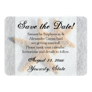 "Two Starfish Sand, Beach Save the Date 4.5"" X 6.25"" Invitation Card"