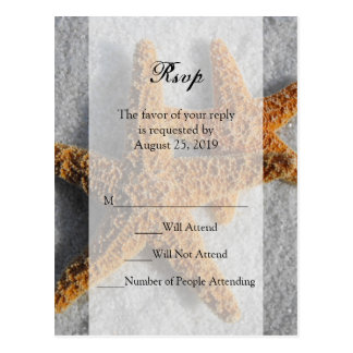 Two Starfish & Sand, Beach Wedding RSVP Reply Card Postcard
