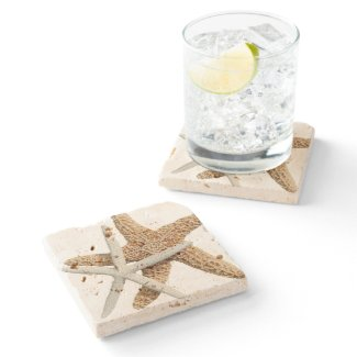 Two Starfish Tropical Design Stone Coaster