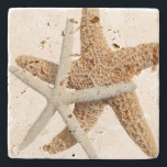 "Two Starfish Tropical Design Stone Coaster<br><div class=""desc"">Coastal home stone coasters with starfish couple.   Sea life image on porous stone coaster.  Two sea stars,  one brown and one white,  makes a nice addition to a beach home,  or for summer drinks.</div>"