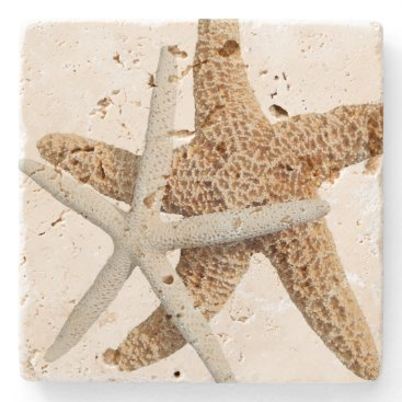 Beach Themed Two Starfish Tropical Design Stone Coaster