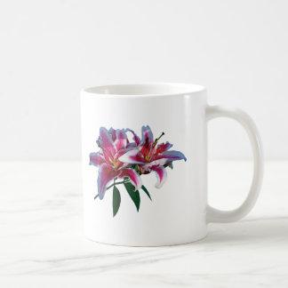 Two Stargazer Lilies in Sunshine Coffee Mugs