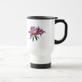 Two Stargazer Lilies in Sunshine Mugs