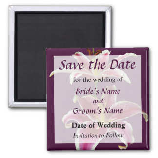 Two Stargazer Lilies Save the Date Magnet