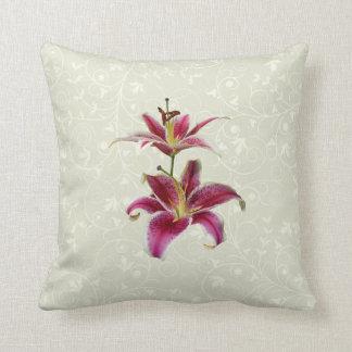 Two Stargazer Lilies Throw Pillow
