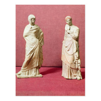 Two statues of standing women from Tanagra Postcard
