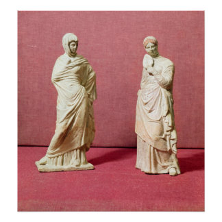 Two statues of standing women from Tanagra Posters
