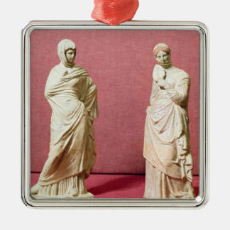 Two statues of standing women from Tanagra Square Metal Christmas Ornament