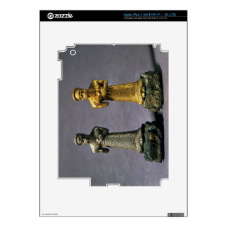 Two statuettes of men carrying offerings of goats, decals for iPad 3