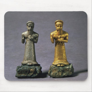 Two statuettes of men carrying offerings of goats, mouse pad
