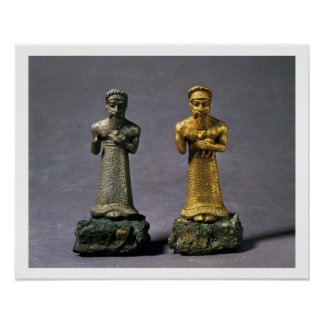 Two statuettes of men carrying offerings of goats, poster
