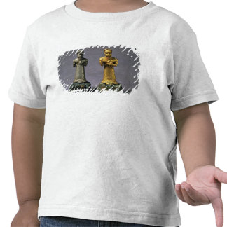 Two statuettes of men carrying offerings of goats, tee shirt