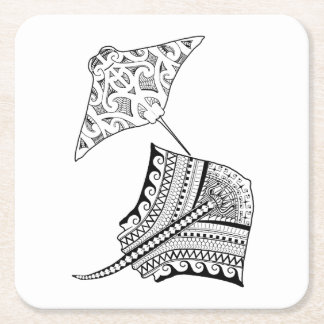 Two Stingrays Adult Coloring Paper Coaster