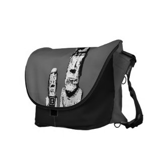 Two Stone Heads (the Eds) messenger bag L