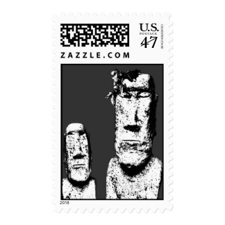 Two Stone Heads (the Eds) postage stamps