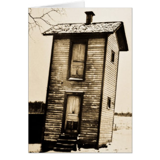 Two Story Outhouse - VIntage Card