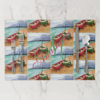 TWO STRANDED CANOES MONOGRAM PARTY PAPER PLACEMAT