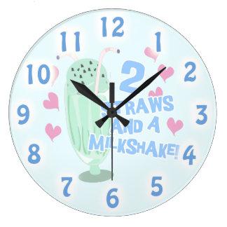 Two Straws and A Milkshake! Large Clock