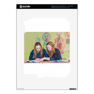 Two students learning with books in biology lesson iPad 3 skin
