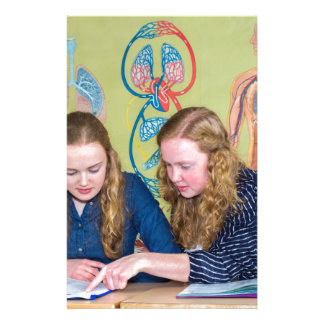 Two students learning with books in biology lesson stationery