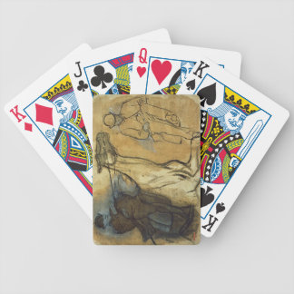 Two studies of riders (pen & ink, oil and gouache bicycle playing cards