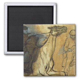 Two studies of riders (pen & ink, oil and gouache refrigerator magnet