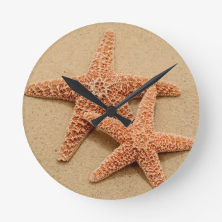 Two Sugar Starfish Round Clock