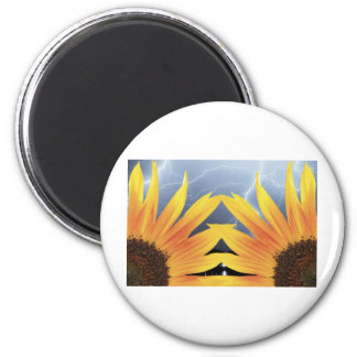 Two Sunflower Lightning Storm 2 Inch Round Magnet