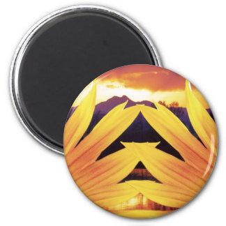 Two Sunflower Sunset Magnet