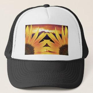 Two Sunflower Sunset Trucker Hat