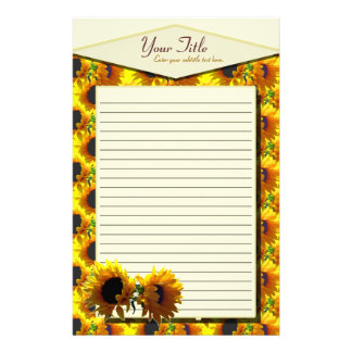 Two Sunflowers Lined Stationery