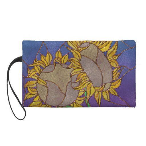 Two Sunflowers Stained Glass Look Wristlet Purses